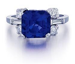 A 5.21ct natural unheated blue Ceylon sapphire and diamond ring, estimated $15,000/$25,000, lot sold for USD 23,740 ($4,558/ct)