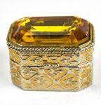 Vintage Miniature Citrine Crystal Pill / Snuff Box/AuctionDaily