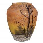 Fine Daum Nancy Enameled Glass Winter Landscape Vase/AuctionDaily