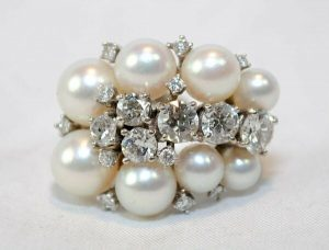 VINTAGE 1930'S 2.5CT DIAMOND & PEARL CLUSTER RING SOLID WHITE GOLD $30K Value/AuctionDaily