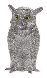 """German Novelty Sterling Silver """"Owl"""" Cocktail Shaker/Auctiondaily"""
