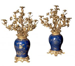 Pair of French Ormolu-Mounted Chinese Gilt and Blue-Ground Porcelain Ten-Light Vase Candelabra/Auctiondaily