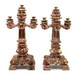 A Pair of Italian Baroque Style Carved, Painted and Parcel Gilt Five-Light Candelabra Height 20 1/2 inches.