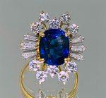 22KT GOLD SAPPHIRE & DIAMOND RING (8.60 GRAMS)