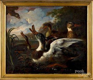 Attributed to Cornelius De Beet, ducks and hawk