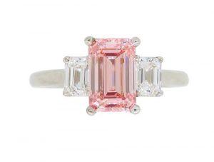 GIA Certified Fancy Pink Three Stone Diamond Ring