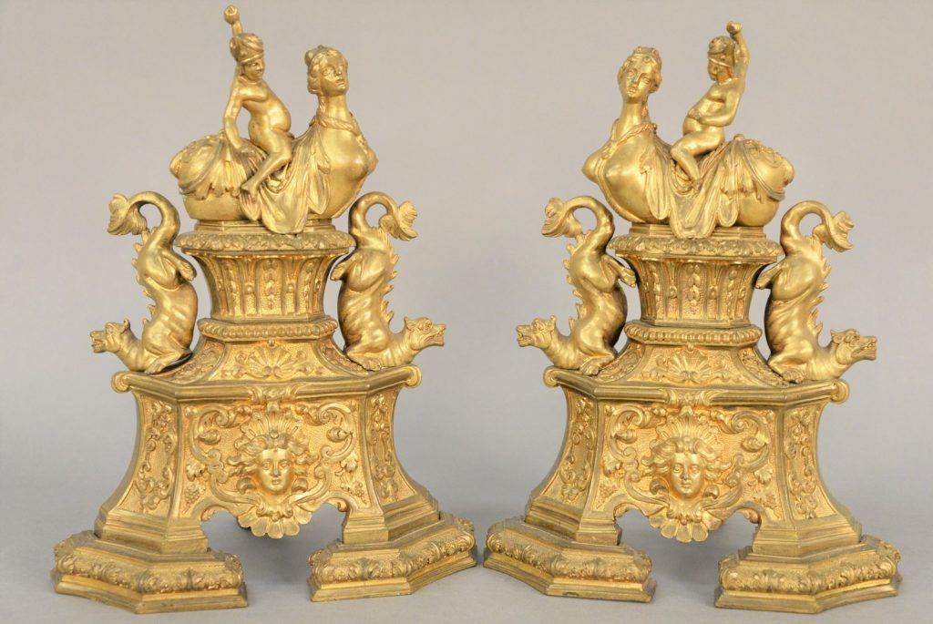 Pair of Louis XIV Gilt Bronze Chenets