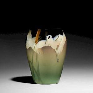 Kataro Shirayamadani for Rookwood, exceptional Dark Iris vase with herons and cattails