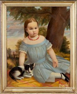 Oil on canvas portrait of a young girl with cat