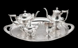 An American Silver Four-Piece Tea and Coffee Service. Sold for $938 via Hindman (September 2019).