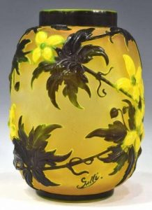 EMILE GALLE MOLD BLOWN GLASS CLEMATIS VASE