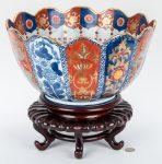 Large Japanese Imari Porcelain Punch Bowl, Scalloped Edge