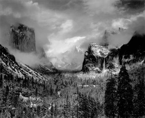 """Ansel Adams (United States, b.1902-1984)   Clearing Winter Storm, Yosemite National Park, CA, 1944  (Printed 1970's)   Gelatin Silver Print  Image - 15.25""""x19.5"""", Mount 22""""x28"""", Matted - 24""""x30""""  ⒸAnsel Adams Trust  Exhibitor: Peter Fetterman Gallery"""