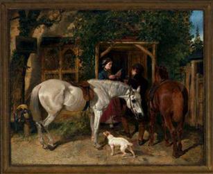 John Frederick Herring, Sr. (English, 1795 – 1865) Black Horse Inn  Oil on canvas, 40 x 49 inches  Signed Herring  Exhibitor: Red Fox Fine Art