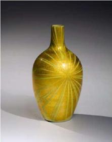 Ono Hakuko (1925-1996)   Vase with radiating pattern ca. 1987  Glazed porcelain with underglaze gold foil 9 1/2 x 5 1/8 in.  Photo by Richard Goodbody Exhibitor: Joan B Mirviss LTD