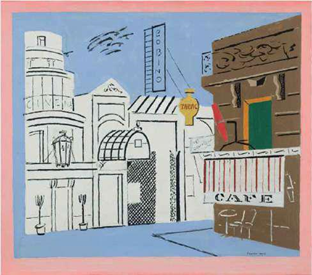 Stuart Davis (American, 1892-1964)  Music Hall, 1930  Oil on canvas  16 x 18 inches   Signed lower right   Exhibitor: Jonathan Boos