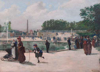Victor Gabriel Gilbert (French 1847-1933)  The Tuileries Garden   Oil on pane   9 ¼ x 13 inches  Signed and dated V.Gilbert 1889, lower right Exhibitor: Thomas Colville Fine Art