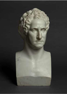 Massimiliano Ravenna  After a Model by Giuseppe Ceracchi  (1751–1802)  Herm Portrait Bust of George Washington  White marble  22 ½ inches; 570 mm c. 1815  Exhibitor: Lowell Libson & Jonny Yarker Ltd