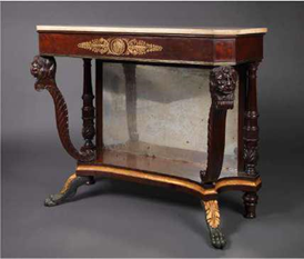 Pier Table with a Marble Top and Carved Lion Head Supports   Attributed to Duncan Phyfe (1770-1854)   New York City, 1815   Primary Wood: Mahogany  Secondary Woods: Pine, Poplar  Height: 36 inches, Width: 41 3/4 inches, Depth: 17 1/4  inches  Exhibitor: Bernard & S. Dean Levy, Inc.