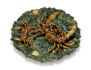 A PALISSY-STYLE MAJOLICA 'CRAB' CHARGER