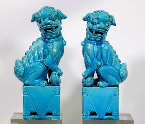 Pr Chinese Turquoise Biscuit Porcelain Fu Dogs
