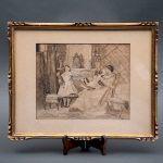 Scene of mother and daughters. XIX century. Engraving, dry point technique on paper. Signature A.P. Framed in carved wood.