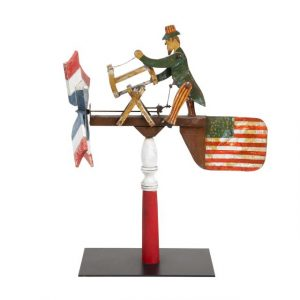 American Paint Decorated Wood and Metal Uncle Sam Whirligig