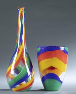 2 Berit Johansson art glass vases.