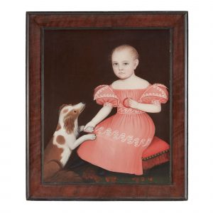 Ammi Phillips - Portrait Of A Seated Child In A Pink Dress With A Spaniel And Coral Teething Ring