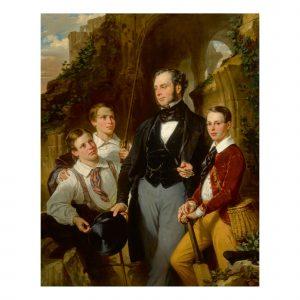 Eugène-françois-marie-joseph Devéria- Portrait Of Laurence Davidson And His Three Sons
