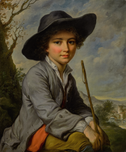 Catherine Lusurier - A Young Boy Seated In A Landscape, Three-quarter Length
