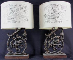 VINTAGE CAST IRON ELEMENT DECORATIVE LAMPS