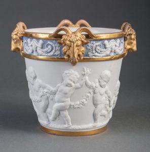 Gilt, Bisque and Glazed Porcelain Cachepot