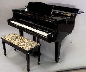 Yamaha black lacquer Grand piano with bench, G3