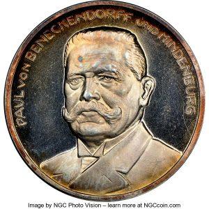Germany- Weimar Republic silver Paul von Hindenburg Medal 1925 MS64 NGC