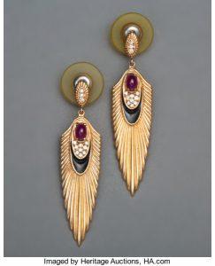 A Pair of Erté Rayonnement 14K Gold, Ruby, Diamond, and Enamel Earrings