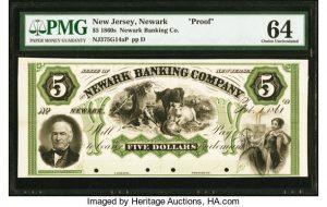 Newark, NJ- Newark Banking Company $5 Feb. 1, 1861