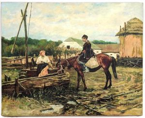 OZEF BRANDT FARM LANDSCAPE PAINTING. MAN ON HORSEBACK