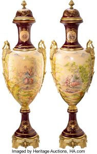 A Pair of Monumental Sèvres-Style Gilt Bronze-Mounted Porcelain Urns