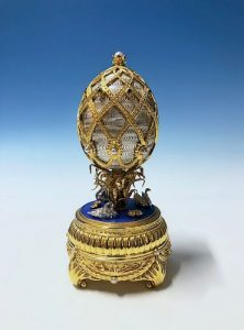 The House Of Faberge Swan Lake Imperial Jeweled Musical Gilt Silver Egg