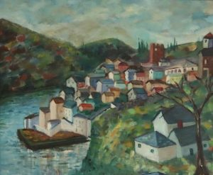 ILLEGIBLY. Signed Oil On Canvas Houses On River