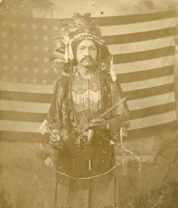 Antique - Vintage Real Photo PC Indian American Flag