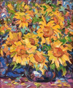 RAFAEL DEL REAL (Spanish b. 1932) A PAINTING, Sunflowers