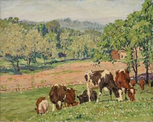 A PAINTING, Dairy Cows in Pasture with Farmhouse