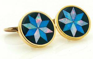 14k Yellow Gold Opal Onyx Inlay 23mm CuffLinks