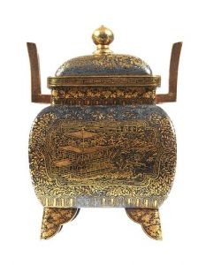 KOMAI Kyoto 19C Meiji Censer Inlaid Iron