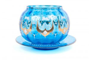BLUE GLASS BOWL AND PLATE