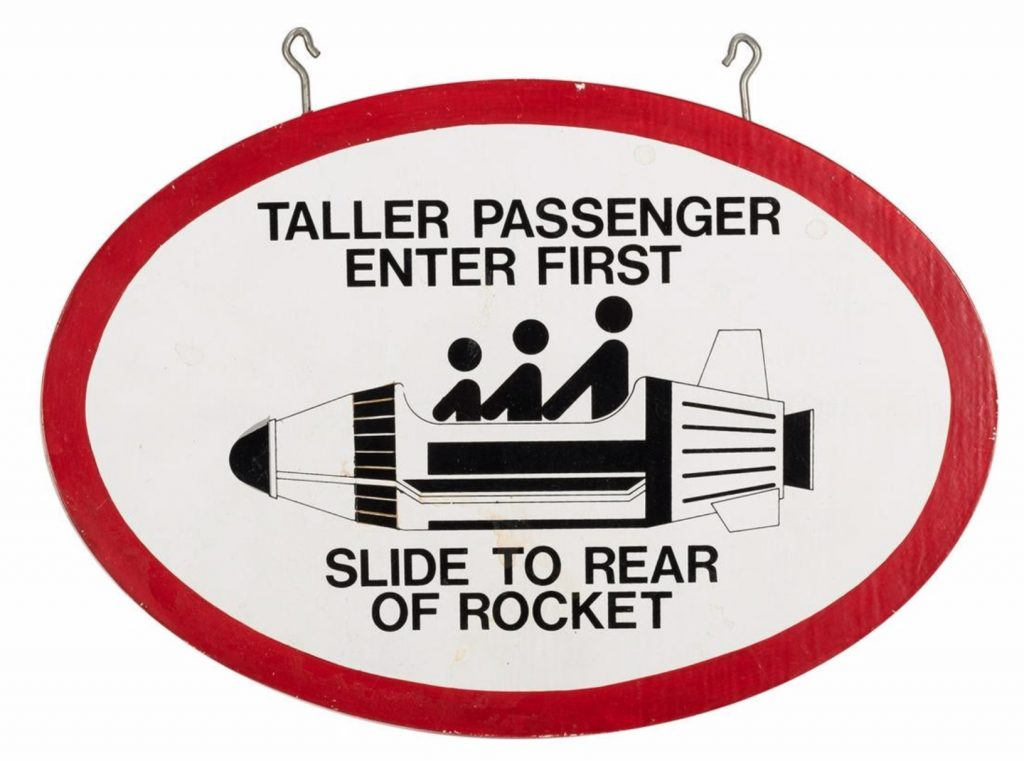 Disneyland Astro Jet Seating Sign