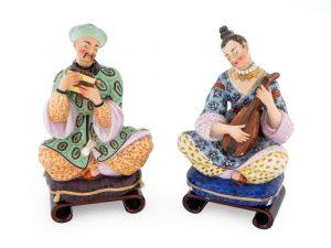 A Pair of Paris Porcelain Chinoiserie Figural Bottles