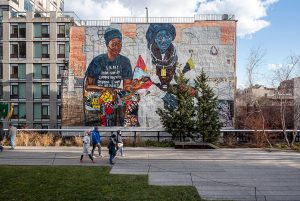 """Timothy Schenck, via the High Line, Jordan Casteel's """"The Baayfalls"""" on view above the High Line in New York"""